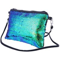 Portable Women Sequin Cosmetic Bag Party Gorgeous Makeup Clutch/Green Black